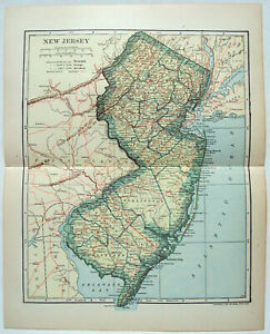 New Jersey - Original 1907 Dated Map by Dodd Mead & Company. Antique