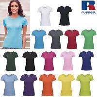 Russell Women's Slim Fit Plain Tee R-155F-0 - Ladies Casual Short Sleeve T-Shirt