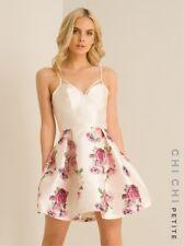 Ladies CHI CHI PETITE Ivory Corset Bodice Pink Rose Print MEL Dress Size 10 RARE