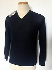 NWT!$895 GIORGIO ARMANI Sweater V-Neck Navy Blue Size 48IT 38US 100% Wool