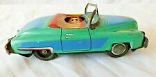 Vintage Japan Tin Litho Friction Convertible Turquoise Car 64870 Pop Up