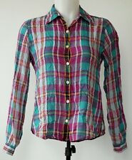 Foxcroft Magenta & Teal Plaid Wrinkle Free Shaped Fit Button-Up Tencel Shirt 2P
