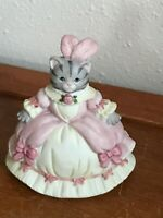 Estate Schmid Porcelain Kitty Cucumber Marked Gray Tabby Cat in Pink Formal Dres