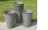 2 Vintage OLD GALVANIZED Maple Syrup Sap Buckets TAPERED NICE W@W