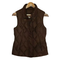 Eddie Bauer Premium Goose Down Puffer Vest Quilted Full Zip Womens Small Brown
