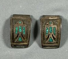 Vtg Native American Watch Band Tips Turquoise Inlay Bird