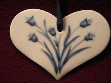 RUSS Ceramic Heart Ornament with Blue Bell Flower Design