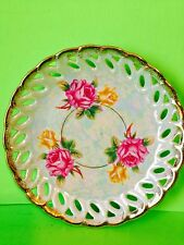 Vintage L M Royal Halsey Iridesent Saucer Gold Trim Roses Collectible Gift