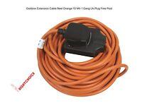 Outdoor Extension Cable Garden Reel Orange 10 Mtr 1 Gang Uk Plug Free Post