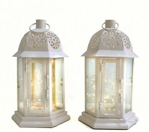 Moroccan set 2 Cream METAL Lanterns NO lights