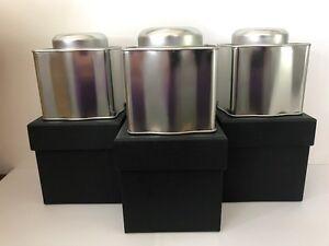 3 X TEA COFFEE SUGAR JAR TIN JARS TINS CANISTER SET STORAGE SILVER NEW IN BOX