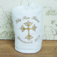 Personalised Embroidered Baby Fleece Blanket Christening Girls Boys NewBorn Gift