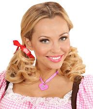 Herz Dirndl Kette rosa-weiß NEU - Zubehör Accessoire Karneval Fasching