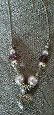 Beaded Heart Necklace Silver & Lilac New