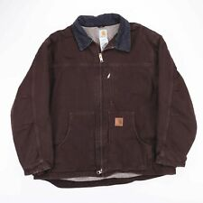 Vintage CARHARTT Brown Borg Lined Worker Jacket Size Mens XXL