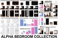 Alpha Gloss Bedroom Furniture Bedside Chest Wardrobe Sets Mirrored Sliding 6 Drawer Chest White
