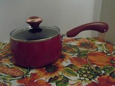"PAULA DEEN 2 QT COVERED SAUCEPAN~ ""RED"" SPECKLE~NON-STICK~NEW"