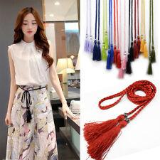 Bow Tassle Woven Rope Dress Waist Chain Waist Rope Tassles Belts Braided Belts