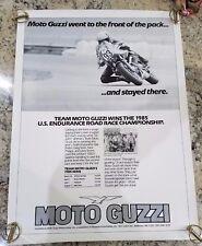 VINTAGE 1985 MOTO GUZZI FACTORY POSTER 29.5 X 22 ROAD RACER CHAMPION ITALIAN