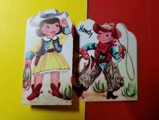 VINTAGE 1940-50's VALENTINE CARD - COWBOY & COWGIRL with ROPES - TRAIL BOSS