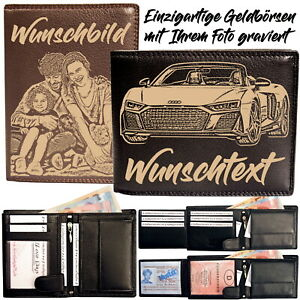 Geldbörse mit Foto Gravur Damen Herren Personalisiert Geldbeutel Portemonnaie