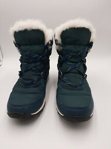 NIB Sorel Women's Whitney Short Lace Snow Boot size 8.5 dark green faux fur