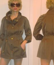 CACHE LUXE ELEGANT SPORTS WAISTED BROWN JACKET GOLDEN ZIPPERS & SNAPS S