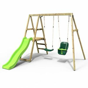 Rebo Active Kids Range Wooden Swing Set with Seat, Baby Seat and Slide – Green