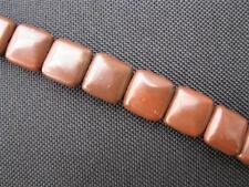 4 Perlen Schokoladenstein gewölbte Quadrate 12mm 10243