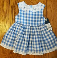 NEW OSH KOSH GIRLS 18 BLUE WHITE CHECKS SLEEVELESS DRESS LACE TRIMS LINED COTTON