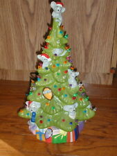 Adorable Ceramic Lighted Christmas Tree Mouse Theme Dated 1980