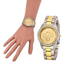 Luxury Faux Chronograph Quartz Classic Round Women's Crystals Dress Watch US