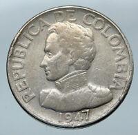 1947 COLUMBIA Simon Bolivar Wreath OLD VINTAGE Silver 50 Centavos Coin i85571