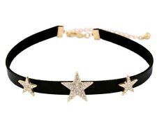 Faux Black Leather Choker Necklace with Stars~ Crystal Rhinestone Star Jewellery