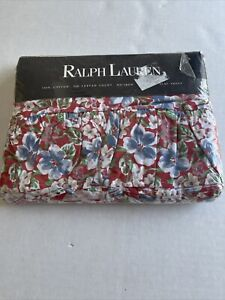 Vintage Ralph Lauren Falmouth Red Blue White Floral Full Flat Sheet