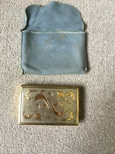 vintage signed BSB musical mirror powder compact gold tone
