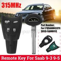 4 Button Car Smart Entry Remote Key 315MHz Black For Saab 9-3 9-5 LTQSAAM433TX