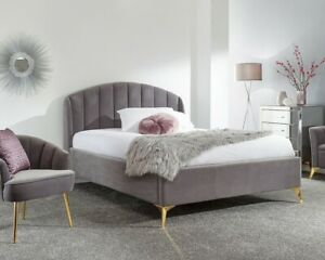 GFW Pettine End Lift Ottoman Bed Frame 4FT6 & 5FT  in Plush Velvet Grey or Pink