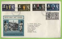G.B. 1964 Shakespeare ordinary set on GPO First Day Cover, Stratford upon Avon