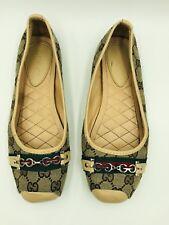 GUCCI Women's Ballet Flats GG Beige Size 40EU / 10US