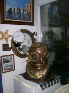 "Morse US Navy Mark V Diving Divers Helmet Solid Antique Full Size 18"" Copper"