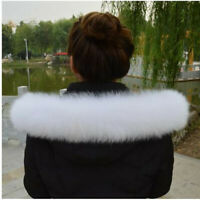 "White Fox Fur Collar Down Jacket Fur Hood Trimming Scarf 70*10cm/27.6X3.9""US"