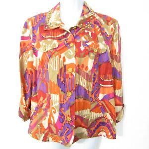 Ruby Rd Jacket Blazer Top Size 14 Orange Purple Brown 3/4 Sleeve Wood buttons