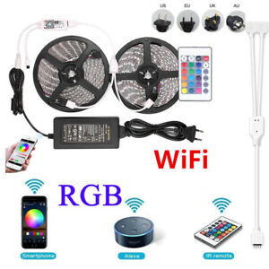 5M 10M RGB LED Strip 5050 Light Wifi Controller for iPhone Android Power Supply