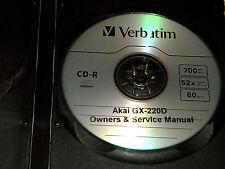 AKAI GX-220D REEL TO REEL TAPE DECK OPERATOR'S & SERVICE MANUAL CD FREE S/H