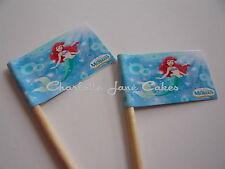 20 CUPCAKE FLAGS/TOPPERS - THE LITTLE MERMAID CHILDRENS BIRTHDAY PARTY