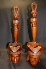Hand Carved Wood Man Head Face Igorot Motar Bowl with long handle 2PC