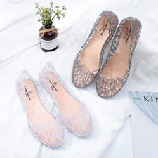 Lady Glitter Clear Round Toe Ballet Flat Hollow Out Plastic Casual Sandals Shoes