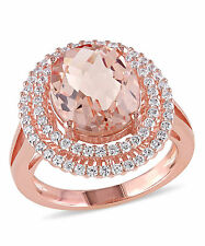 Rose Silver Simulated Morganite and Cubic Zirconia Ring