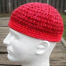 Stricking Red Crocheted Scull Cap - Medium Size - Handmade by Michaela